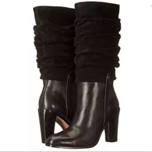 NEW Donald Pliner Leather Slouch Boots Black 5.5 N